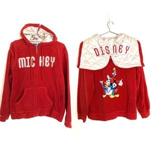 🔥VTG Disney Mickey Embroidered Unisex Hoodie red